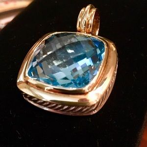 David Yurman Blue Topaz 18K Gold / Silver pendant